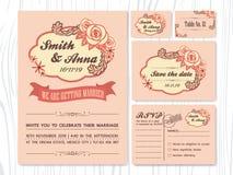 Uppsättningar för inbjudan för bröllop för tappningrossignal Arkivbild