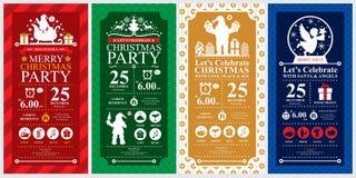 Uppsättningar för kort för inbjudan för julparti Arkivbild