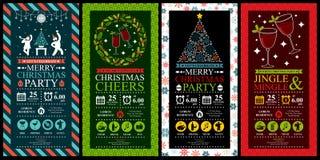 Uppsättningar för kort för inbjudan för julparti stock illustrationer