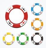 Uppsättningar för vektor för pokerchip Arkivfoton