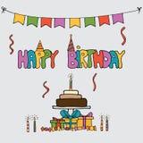 Uppsättningar för vektor för utdragen födelsedag för hand themed vektor illustrationer
