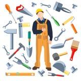 Uppsättningen anmärker, arbetaren såg, mursleven, hammare vektor illustrationer