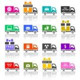 Uppsättningen av åker lastbil kulöra symboler Royaltyfri Bild