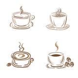 Uppsättningen av ångande kaffe- och tekoppar, skissar stil, klottret, vektorillustration Arkivbilder