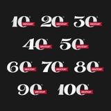 Uppsättningen av årsdagen undertecknar från 10th till 100. royaltyfri illustrationer