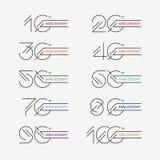 Uppsättningen av årsdagen undertecknar från 10th till 100. Arkivfoton