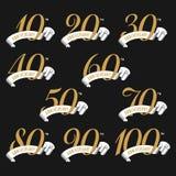 Uppsättningen av årsdagen undertecknar från 10th till 100. med band Royaltyfri Fotografi