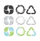 Uppsättningen av 3 återanvänder symboler Grå färg-, gräsplan- och blåttfärger Royaltyfri Bild