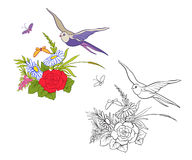 Uppsättningen av översikt och kulör tappning blommar buketten eller modellen royaltyfri illustrationer