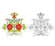 Uppsättningen av översikt och kulör tappning blommar buketten eller modellen vektor illustrationer