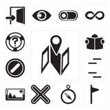 Uppsättningen av översikten, flaggan, kompass, multiplicerar, föreställer, linjer som förbjudas, royaltyfri illustrationer