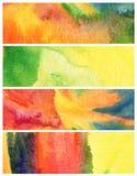Uppsättningen av abstrakt akryl och vattenfärgen målade bakgrund Fotografering för Bildbyråer