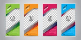 Uppsättningen av affären rullar upp banret med 4 variant- färger klar vektor för nedladdningillustrationbild stock illustrationer