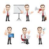 Uppsättningen av affärsmannen Character i olika 6 poserar Royaltyfria Bilder