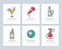 Uppsättningen av alkohol och stången, nattklubb färgade beståndsdelar för mall som kan användas till mycket för presentation a4 B royaltyfri illustrationer