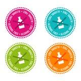 Uppsättningen av allergen frigör emblem Alkohol frigör Dragit tecken för vektor hand Användas för kan att förpacka design stock illustrationer