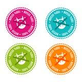 Uppsättningen av allergen frigör emblem strikt vegetarian 100% Dragit tecken för vektor hand Användas för kan att förpacka design Fotografering för Bildbyråer