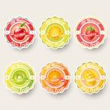 Uppsättningen av apelsinen, citronen, jordgubben, kiwin, äpplet, mangofruktsaft, smoothie, mjölkar, coctailen, och nya etiketter  Arkivbilder