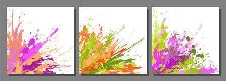 Uppsättningen av bakgrunder och målarfärg bläckar ner, färgstänk, droppar Arkivbilder