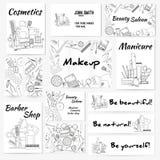 Uppsättningen av baner, affischer och affärskortet med sminkkonstnären anmärker - läppstift, kräm, borste stock illustrationer