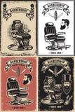 Uppsättningen av barberaren shoppar affischmallar Planlägg beståndsdelen för logoen, etiketten, emblemet, tecknet, affisch Fotografering för Bildbyråer
