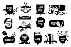 Uppsättningen av barberaren shoppar logoer och designer Arkivbilder