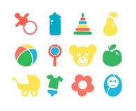 Uppsättningen av behandla som ett barn den färgrika symbolen för objekt Arkivbilder
