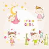 Uppsättningen av behandla som ett barn flickan - för baby shower eller ankomstkort Arkivbild