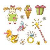 Uppsättningen av behandla som ett barn leksaker för flicka Fotografering för Bildbyråer
