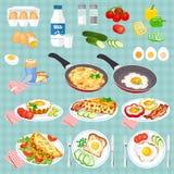 Uppsättningen av bilder lagade mat ägg Vektor Illustrationer