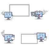 Uppsättningen av bildskärmteckenet med poserar brädebärbar datortelefonen royaltyfri illustrationer