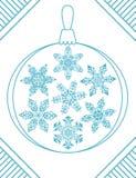 Uppsättningen av 7 blåa eleganta geometriska snöflingor i jul klumpa ihop sig form Fotografering för Bildbyråer