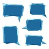 Uppsättningen av blått lågt abstrakt begreppanförande för polygon 3d bubblar Arkivbild