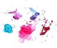 Uppsättningen av blått, steg, lilor, röda vattenfärgfläckar på en vit bakgrund isolerat Arkivfoton