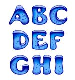 Uppsättningen av blått stelnar, is- och karamellisolat för alfabetversalar royaltyfri illustrationer