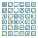 Uppsättningen av blommavektorn, lägenhet blommar symboler Arkivbild