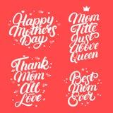 Uppsättningen av bokstäver för hand för moderdag skriftlig citerar Royaltyfria Foton