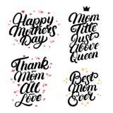 Uppsättningen av bokstäver för hand för moderdag skriftlig citerar Royaltyfri Fotografi