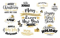 Uppsättningen av bokstäver för jul och för lyckligt nytt år planlägger Royaltyfri Bild