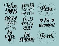Uppsättningen av bokstäverkristen för 9 hand citerar gudförälskelser dig John3 16 hope Be hårt Gå vid tro Var klok, tacksamt vektor illustrationer