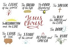 Uppsättningen av bokstäverkristen för 11 hand citerar om Jesus Christ Savior Dörr God herde Väg sanning, liv Alfabetisk och stock illustrationer