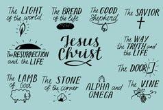 Uppsättningen av bokstäverkristen för 11 hand citerar om Jesus Christ Savior Dörr God herde Väg sanning, liv alfabetisk omega Lam royaltyfri illustrationer