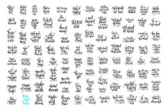 Uppsättningen av bokstäverrealiteten för 100 hand citerar om enhörningen, sjöjungfru Royaltyfri Fotografi