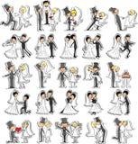 Uppsättningen av bröllop föreställer, vektorn Royaltyfri Fotografi