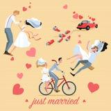 Uppsättningen av bröllopillustrationer av en par- och bröllopbil i tecknad film utformar Arkivbilder
