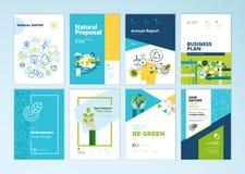 Uppsättningen av broschyren och årsrapporträkningen planlägger mallar av naturen, miljön, förnybara energikällor, hållbar utveckl Arkivbild