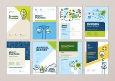Uppsättningen av broschyren och årsrapporträkningen planlägger mallar av naturen, miljön, förnybara energikällor, hållbar utveckl Arkivbilder