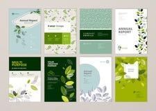 Uppsättningen av broschyren och årsrapporträkningen planlägger mallar på ämnet av naturen, miljön och organiska produkter Arkivfoto