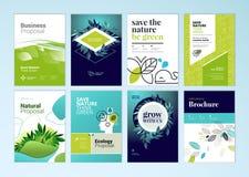 Uppsättningen av broschyren och årsrapporträkningen planlägger mallar på ämnet av naturen, miljön och organiska produkter Royaltyfria Foton