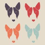 Uppsättningen av bull terrier vänder mot Hundhuvud stock illustrationer
